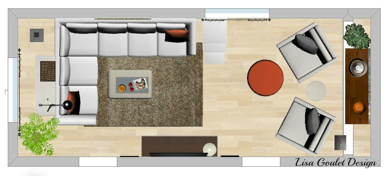 long narrow living room - layout