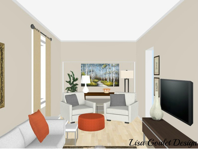 How to furnish and love a long narrow living room in 5 easy steps lisa goulet design for How to design a long narrow living room