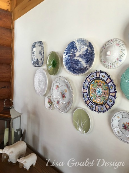 Blue and green plate wall