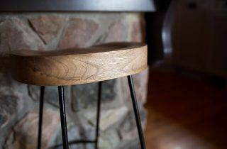 Stool and island rock wall detail, kitchen