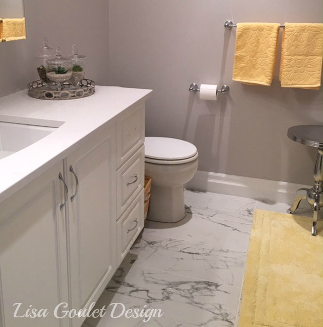 White. grey and yellow master bath