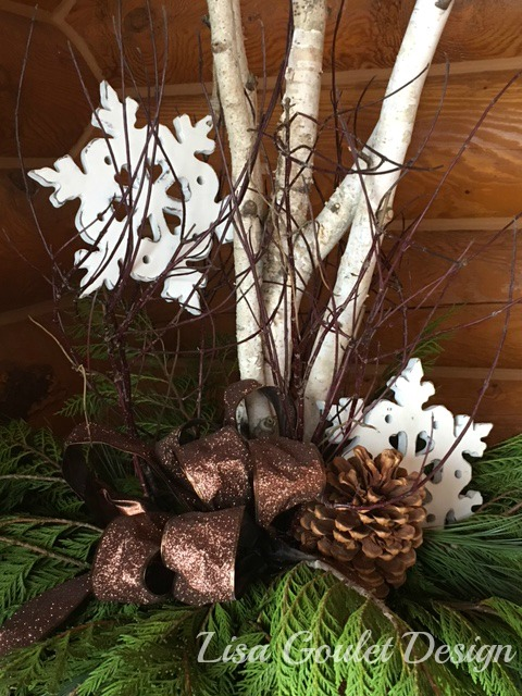 Closeup of christmas urn with snowflakes