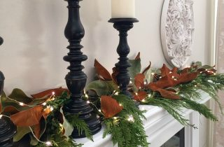 CHIC AND CLASSIC, GREEN, BLACK AND WHITE CHRISTMAS MANTEL