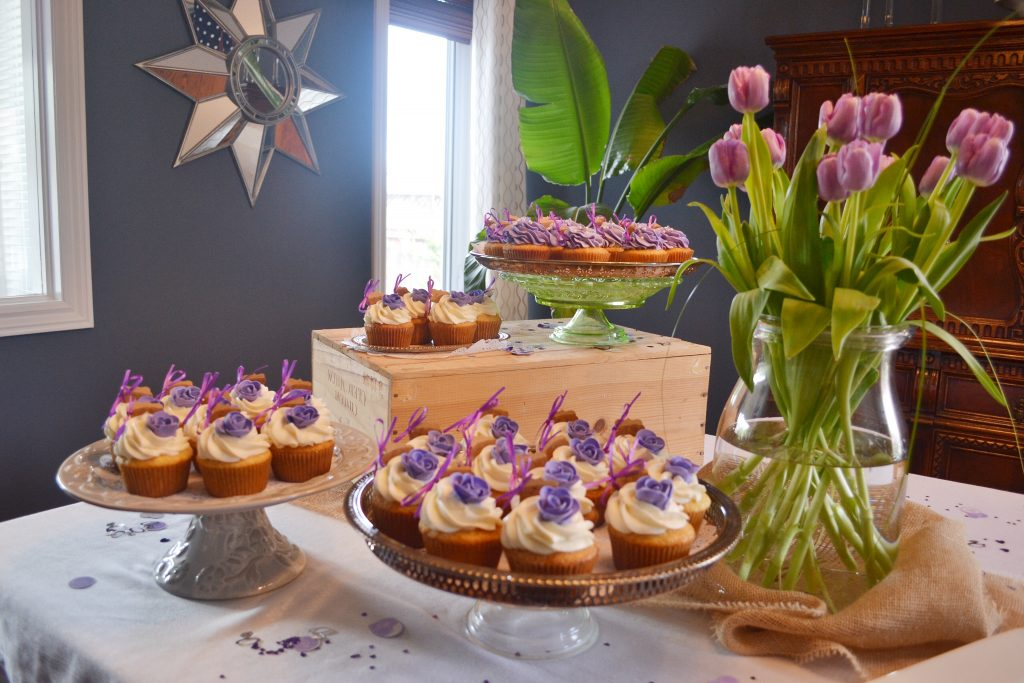 shower cupcakes in purple and cream