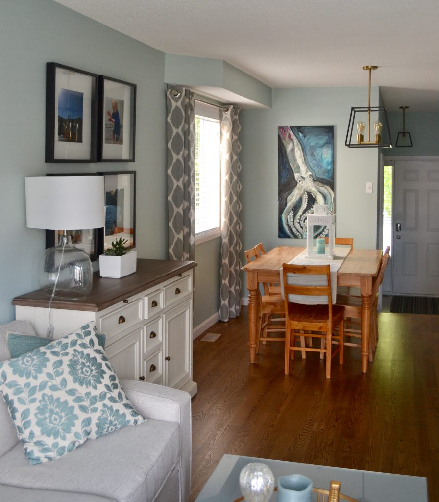 Warm beachy living and dining room