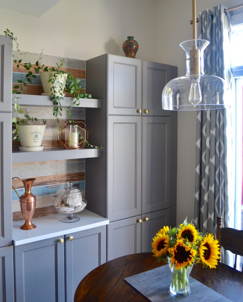 After - kitchen pantry and open shelving area