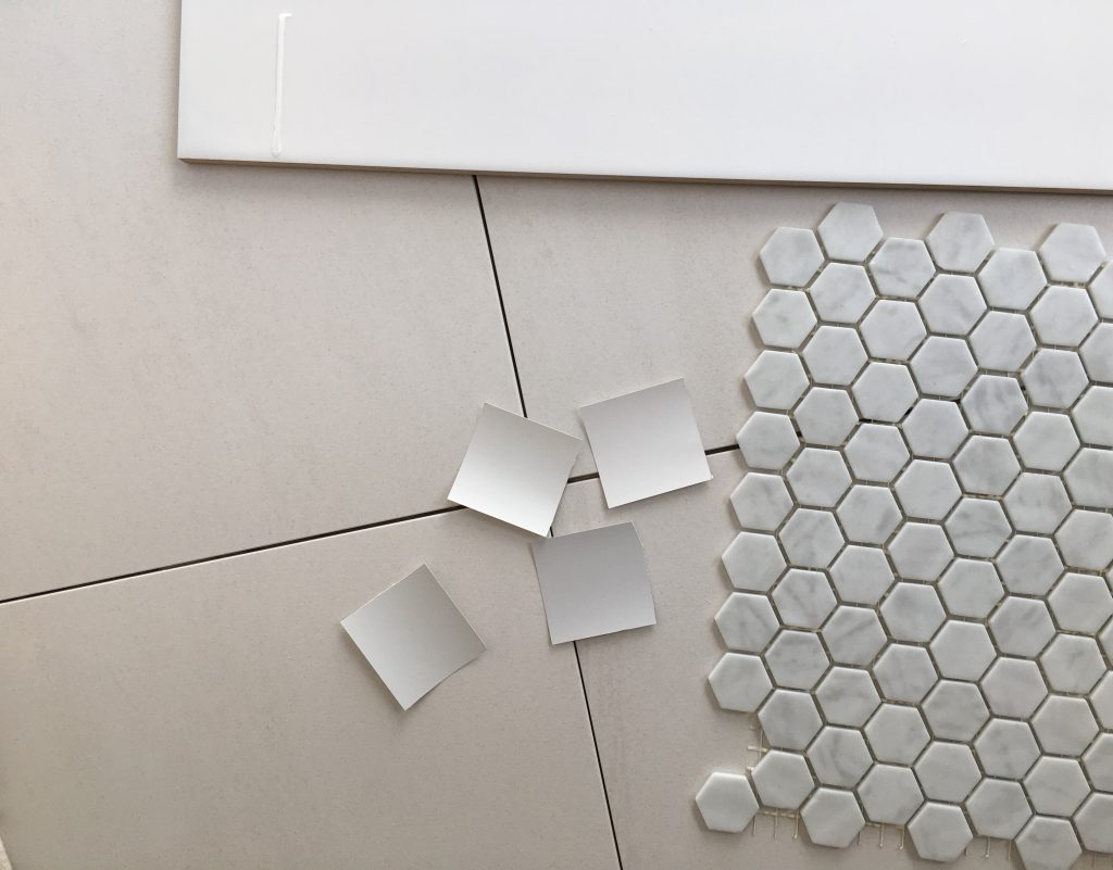 Bathroom tile selection, white and bright