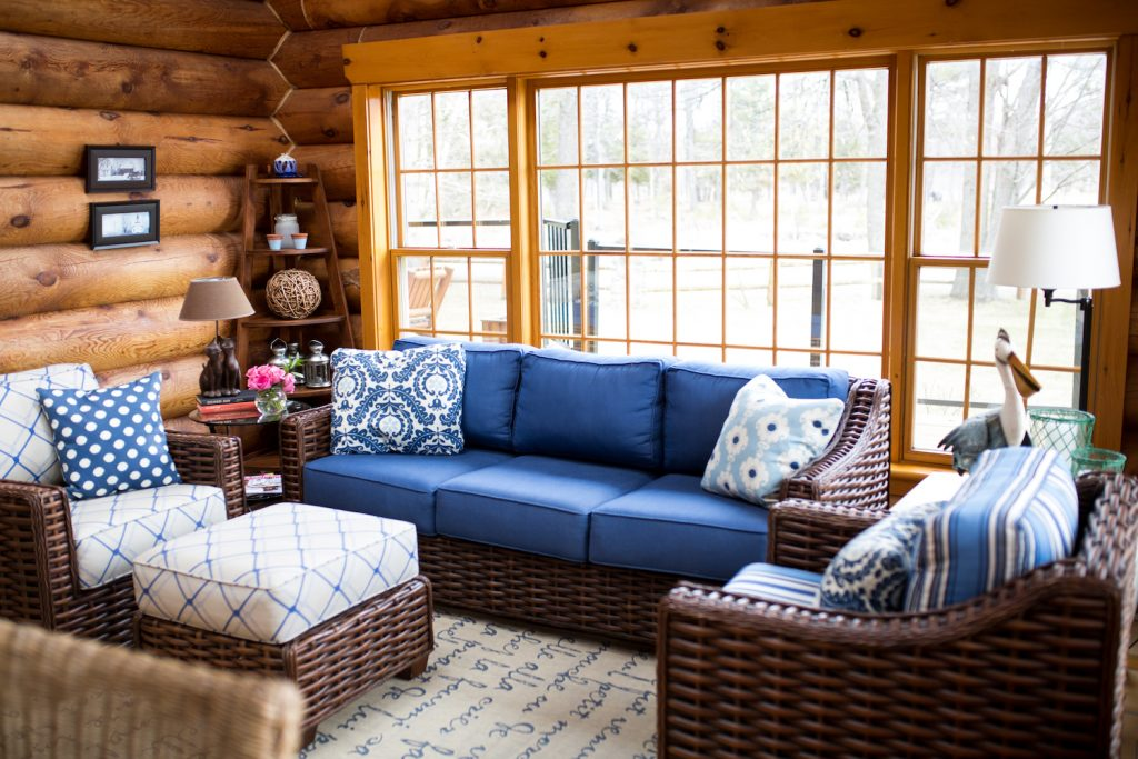 Blue log cottage sunroom