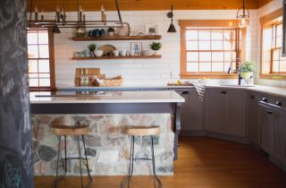 A log cottage kitchen transformation
