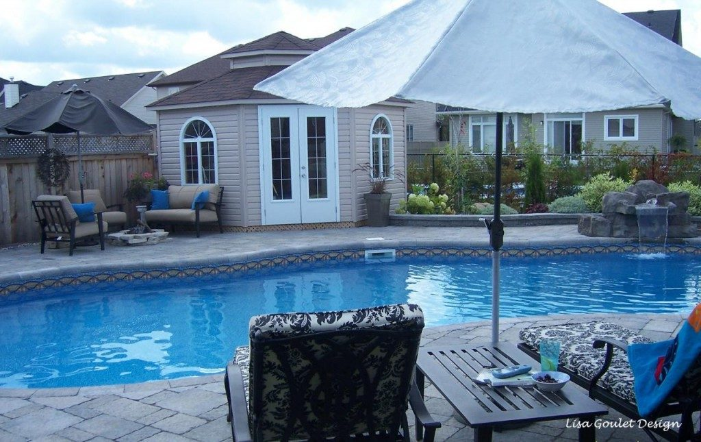 Exterior pool, composite deck, gazebo and sitting area