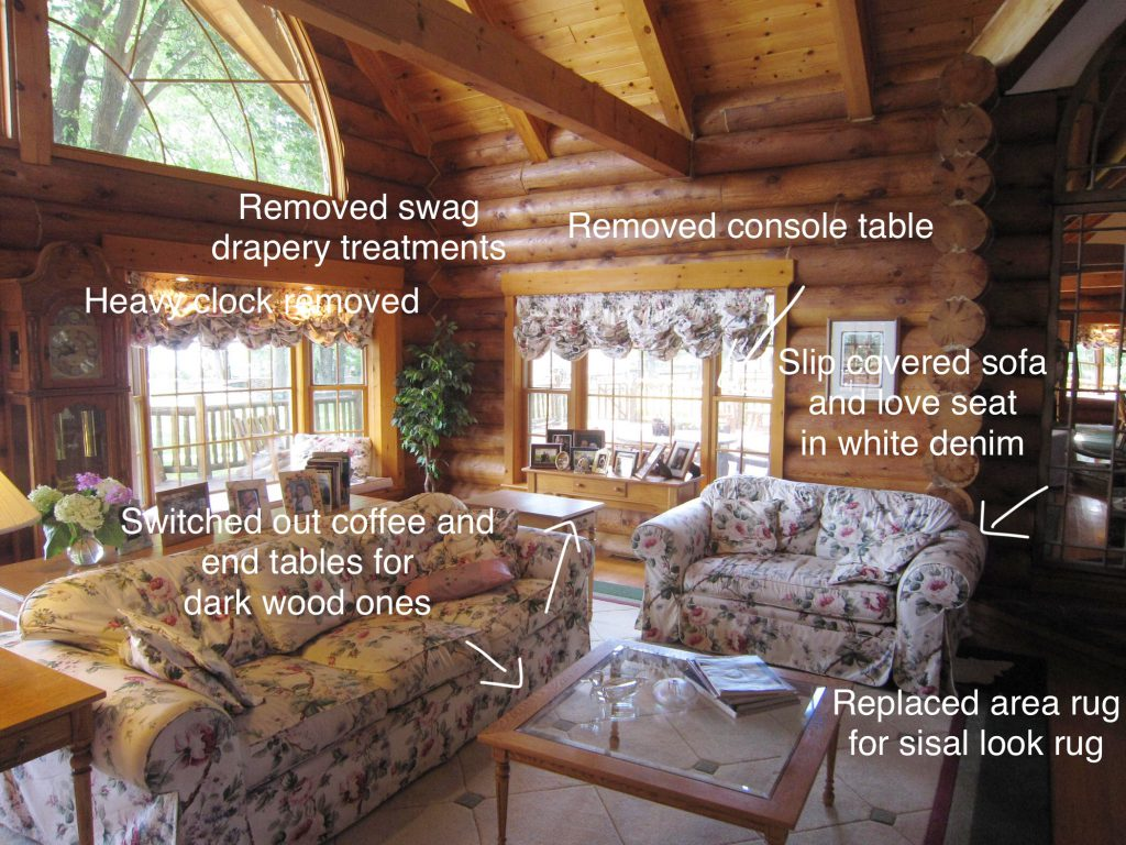 Before picture of log cottage living room with design changes