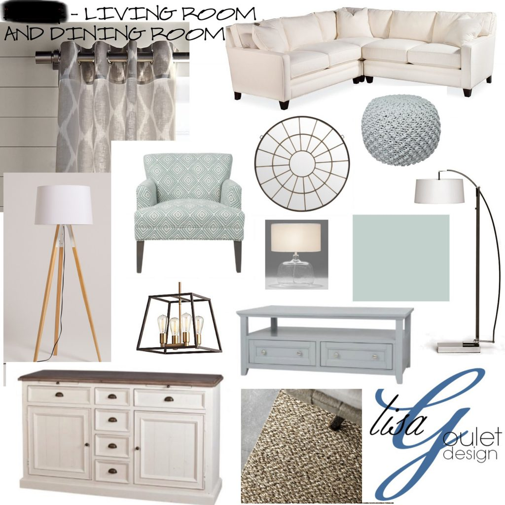 Mood board living room and dining room