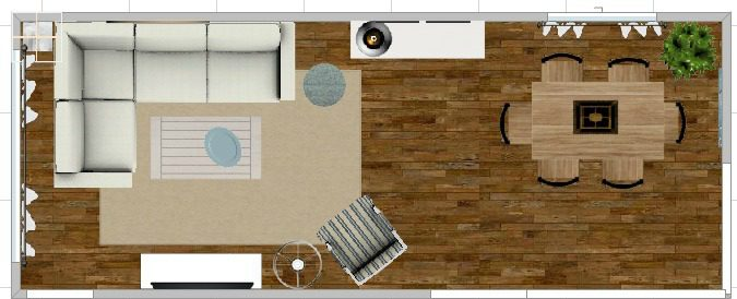 Living room and dining room layout