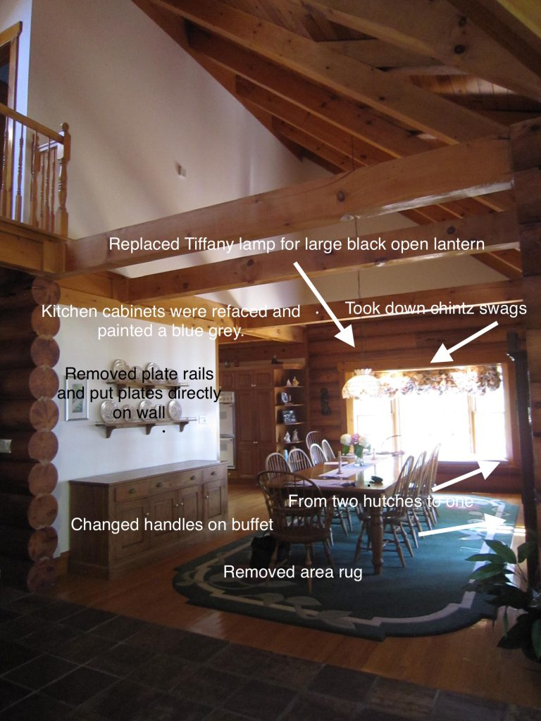 Log home dining room changes