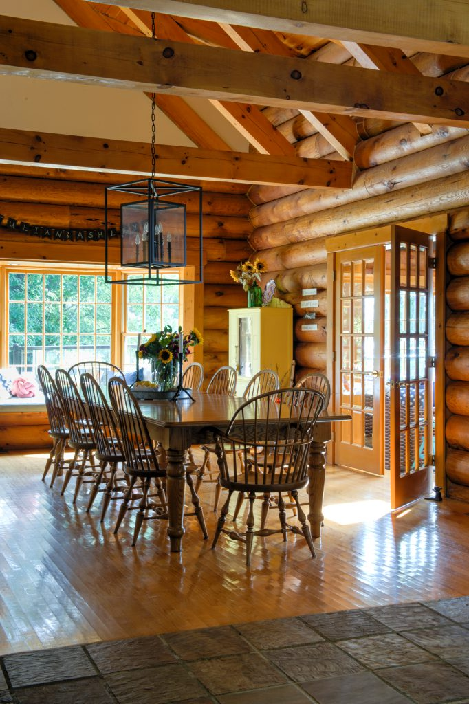 Log home dining room after