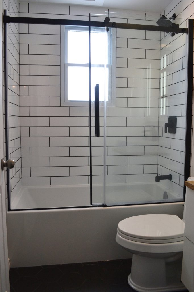 Modern, masculine bath