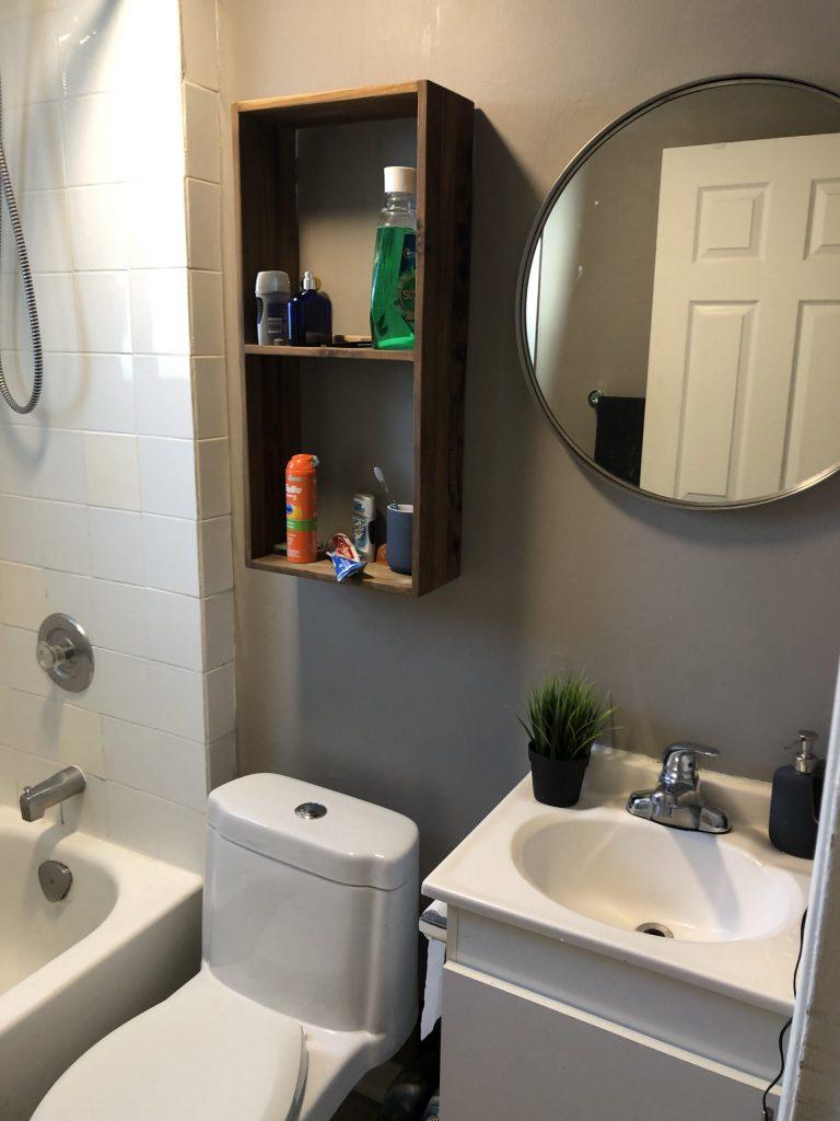 Before modern bath renovation